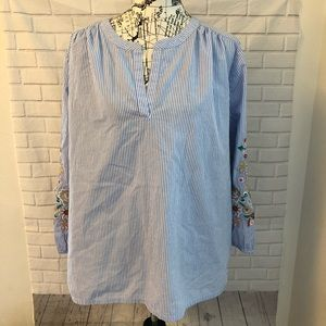 Loft popover stripe blouse shirt embroidered